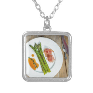 Green asparagus with ham and sauce square pendant necklace