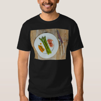 Green asparagus with ham and sauce tee shirt