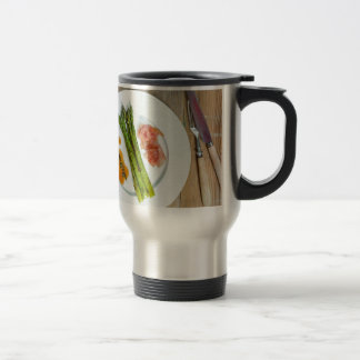 Green asparagus with ham and sauce travel mug