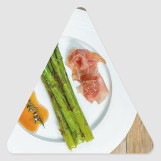 Green asparagus with ham and sauce triangle sticker