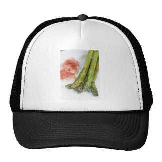 Green asparagus with ham and sauce trucker hat