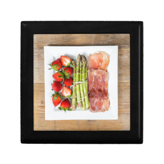 Green asparagus with ham and strawberries jewelry box