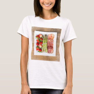 Green asparagus with ham and strawberries T-Shirt