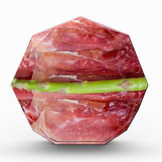 Green asparagus with ham macro acrylic award