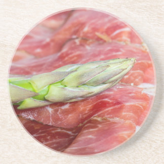 Green asparagus with ham macro drink coaster