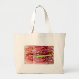 Green asparagus with ham macro large tote bag