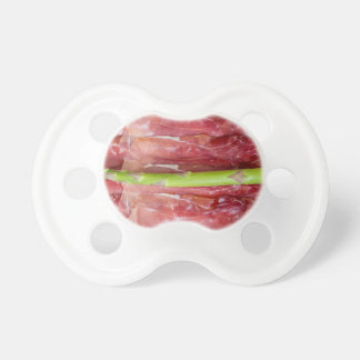 Green asparagus with ham macro pacifier