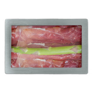 Green asparagus with ham macro rectangular belt buckle