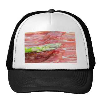 Green asparagus with ham macro trucker hat