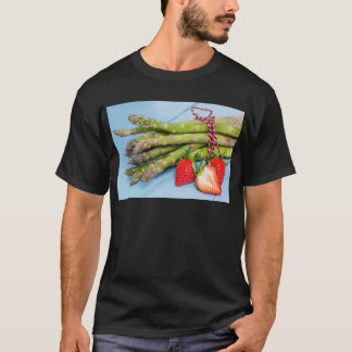 Green asparagus with strawberries on wooden T-Shirt