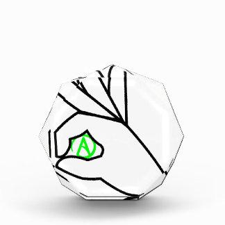 Green Atheist Hand Symbol Acrylic Award