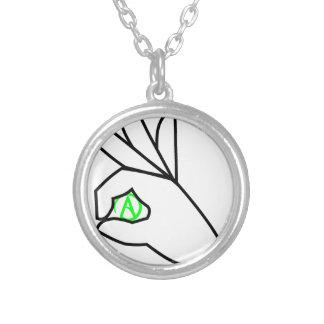 Green Atheist Hand Symbol Round Pendant Necklace