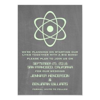 Green Atomic Chalkboard Save the Date Invite
