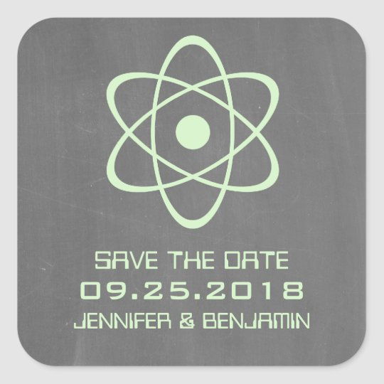 Green Atomic Chalkboard Save the Date Stickers