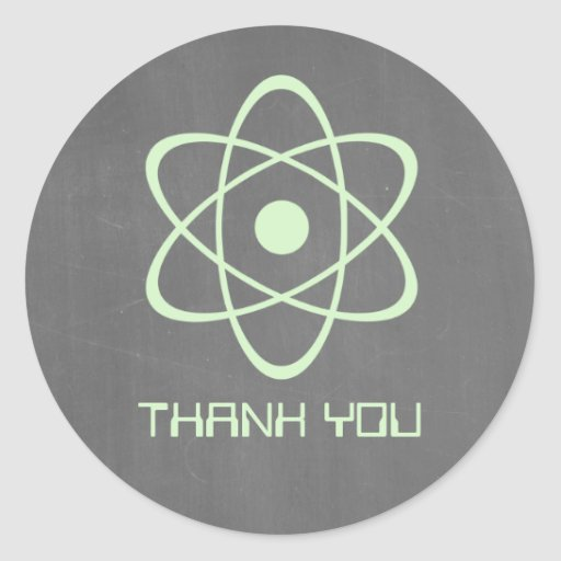 Green Atomic Chalkboard Thank You Stickers