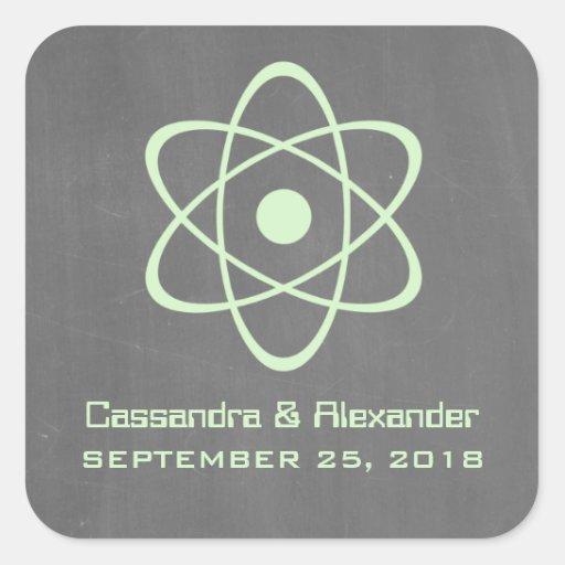 Green Atomic Chalkboard Wedding Stickers
