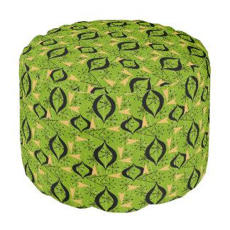 Green Atomic Starbursts | Mid-Century Style Pouf