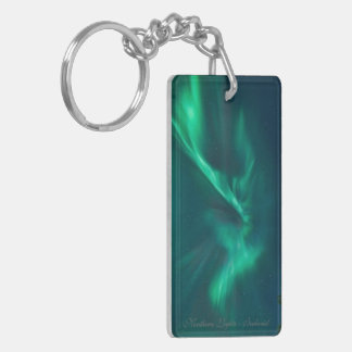 Green Aurora - Rectangle (double-sided) Keychain