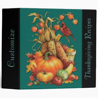 Green Autumn Harvest Thanksgiving Recipe Binder