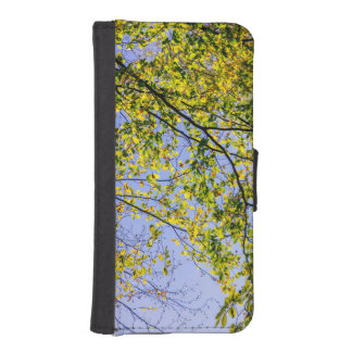 Green Autumn Leaves And A Blue Sky iPhone 5 Wallets