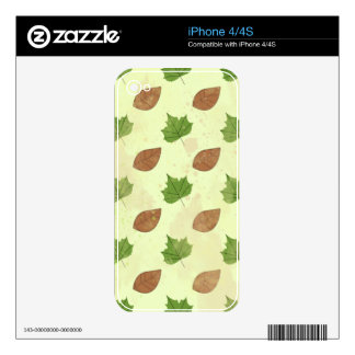 Green Autumn Leaves Pattern Decal For The iPhone 4S