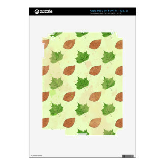 Green Autumn Leaves Pattern Decals For iPad 3