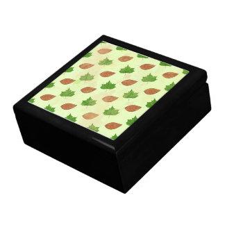Green Autumn Leaves Pattern Gift Box