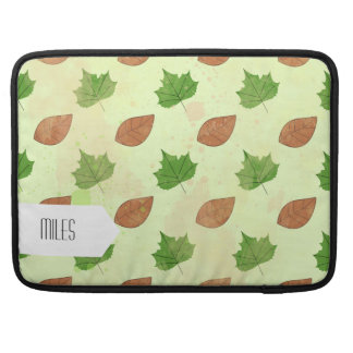 Green Autumn Leaves Pattern Sleeve For MacBooks