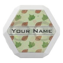 Green Autumn Leaves Pattern White Bluetooth Speaker