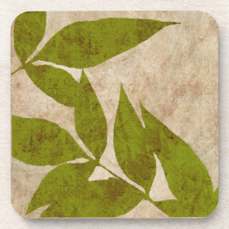 Green Autumn Leaves Vintage Beverage Coaster