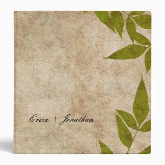 Green Autumn Leaves Vintage Binder