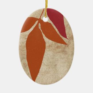 Green Autumn Leaves Vintage Ceramic Ornament