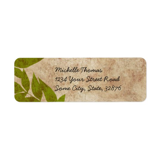 Green Autumn Leaves Vintage Label