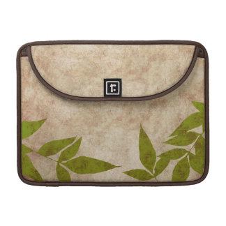 Green Autumn Leaves Vintage Sleeve For MacBooks