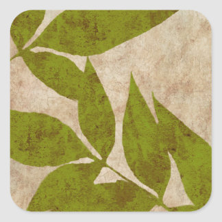 Green Autumn Leaves Vintage Square Sticker