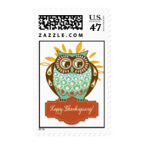 Green Autumn Owl Floral Happy Thanksgiving Postage