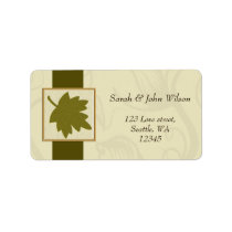 green  autumn wedding ,return address label