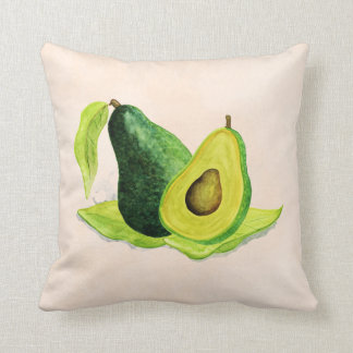 Green Avocado Still Life Fruit in Watercolors Throw Pillow