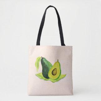 Green Avocado Still Life Fruit in Watercolors Tote Bag