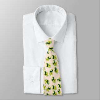 Green Avocados Watercolor Pattern Neck Tie