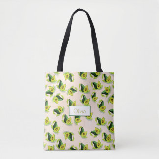 Green Avocados Watercolor Pattern Tote Bag