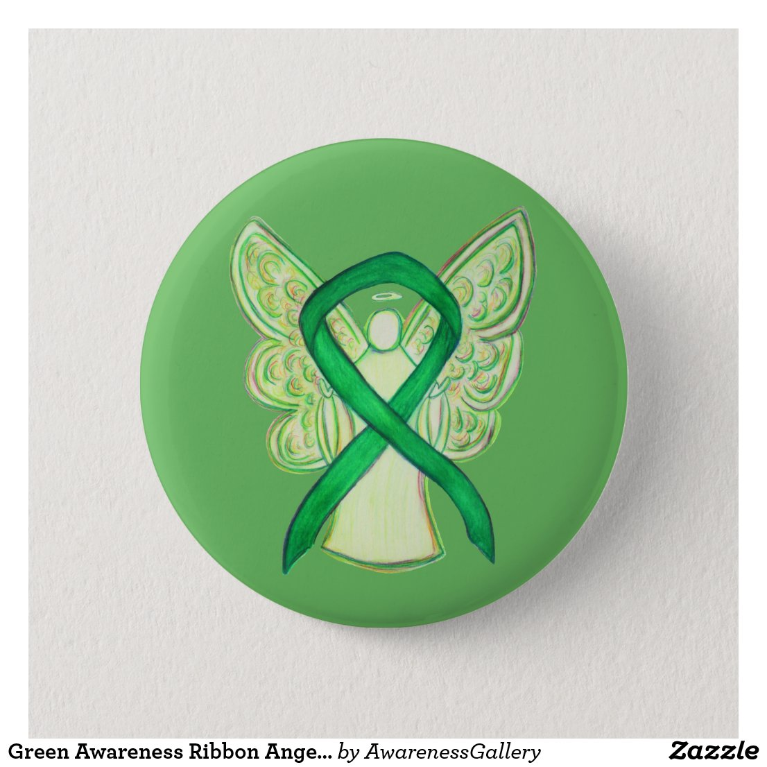 Green Awareness Ribbon Angel Art Button
