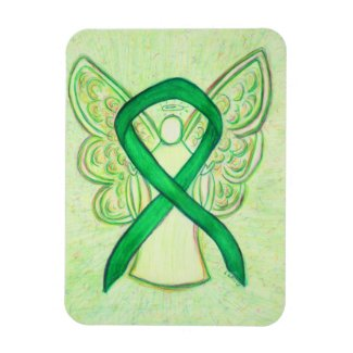 Green Awareness Ribbon Angel Art Custom Magnet