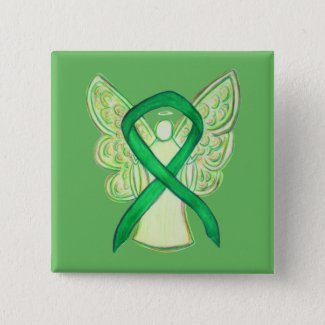 Green Awareness Ribbon Angel Custom Art Pins