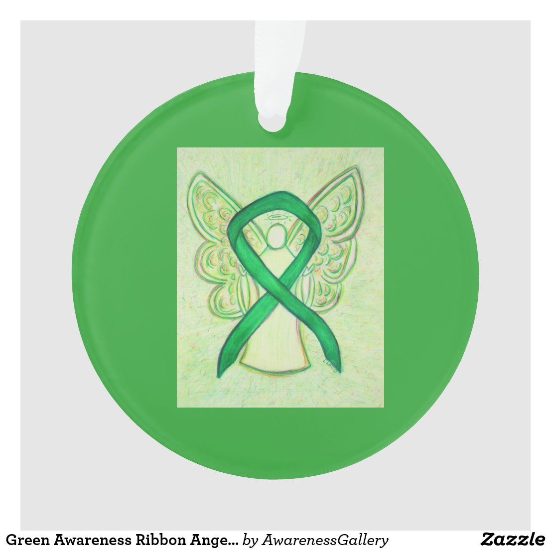 Green Awareness Ribbon Angel Customized Ornaments
