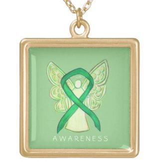 Green Awareness Ribbon Angel Jewelry Necklace