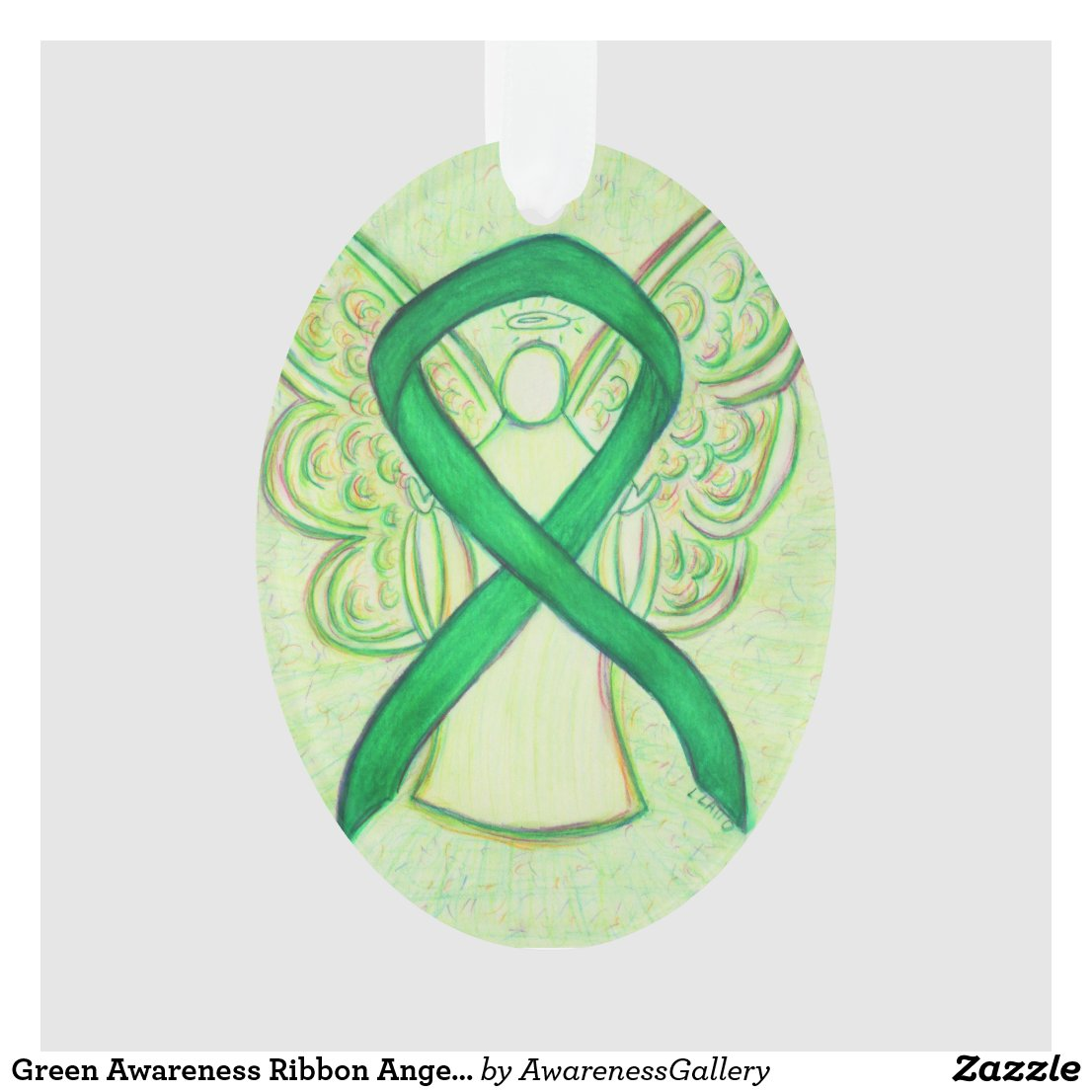 Green Awareness Ribbon Angel Ornament Pendant