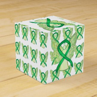 Green Awareness Ribbon Angel Party Favor Boxes