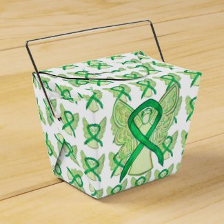 Green Awareness Ribbon Angel Take Out Favor Boxes
