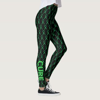 Green Awareness Ribbon Art Custom Words Leggings